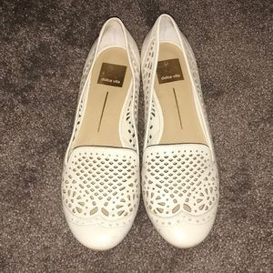 Dolce Vita Lace Smoking Slippers Loafers 8.5 Cream